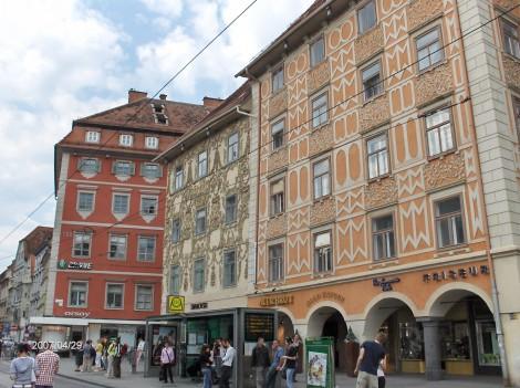 Staro mestno jedro Graza z značilno pisano poslikavo zgradb.