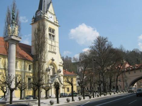 Šentjakobski trg, danes Levstikov trg ob cerkvi Sv.Jakoba.