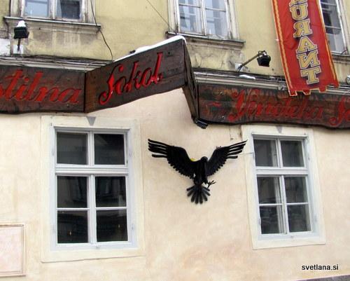 Izvesek ljubljanske gostilne Sokol
