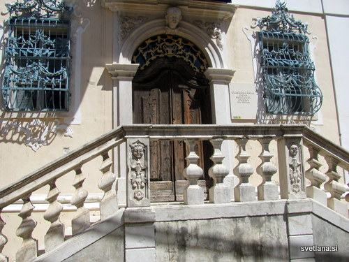 Kamnito stopnišče in ograja glavnega vhoda v palačo Besenghi.